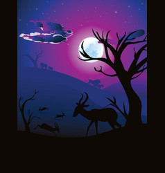 Night landscape with antelopes vector