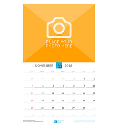 november 2018 wall monthly calendar for 2018 year vector image