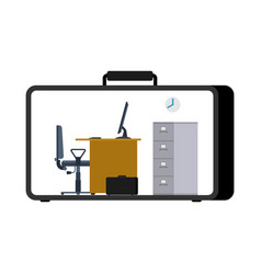 Office in case mobile workplace in suitcase vector