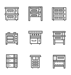 Ovens simple line icons set vector image