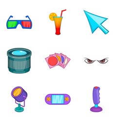 Picture theater icons set cartoon style vector