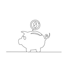 Piggy bank one line drawing vector