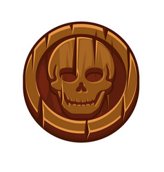 pirate black mark or wooden coin for game vector image