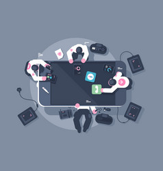 programmers team mobile app interface development vector image