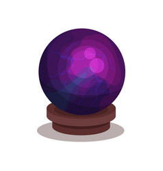 purple crystal ball on wooden stand sphere for vector image