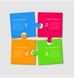 Puzzle four pieces steps parts for presentation vector