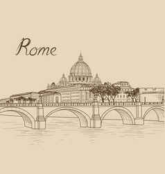 rome cityscape with st peters basilica italian vector image
