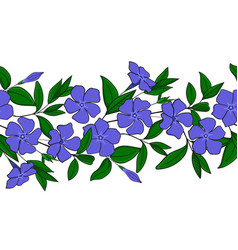 Seamless pattern of blue periwinkle garland with vector