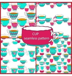 Seamless patterns of the doodle various bright vector image