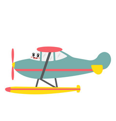 Seaplane transportation cartoon character side vector
