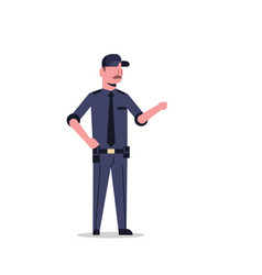 security guard man in black uniform point to vector image