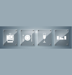 set home stereo with two speakers glass of vector image