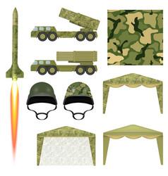 Set military equipment military missile helmet vector
