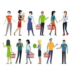 Set of Shopping Characters vector image
