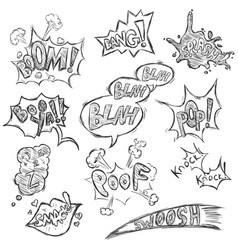 Set sketch comics phrases and effects vector