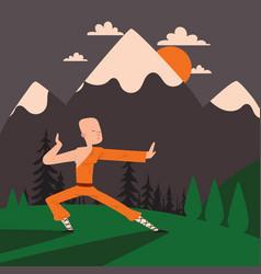 Shaolin monk kung fu master vector