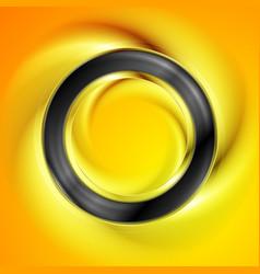 smooth black ring on bright orange background vector image