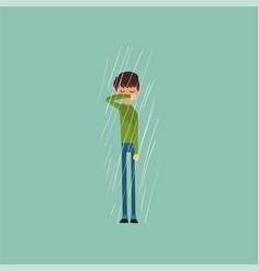Sneezing boy freezing over autumn rain vector