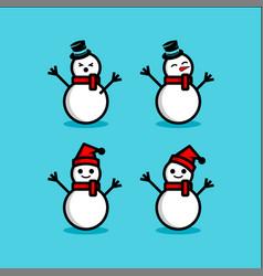 snowman set winter vector image