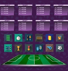 Soccer Scoreboard Groups and Teams and Icons vector