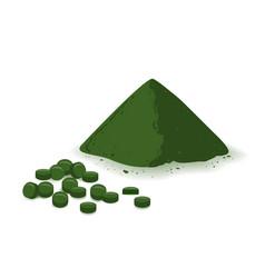 Spirulina chlorophyll or chlorella powder and vector