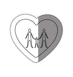 Sticker of monochrome contour of heart with family vector