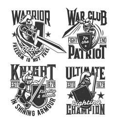 T-shirt prints with knight and warriors vector