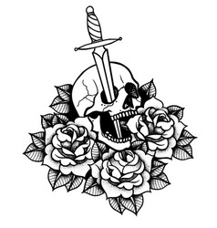tattoo with roses and snake skull sword and vector image