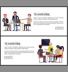 Teamwork web page templates with entrepreneurs vector