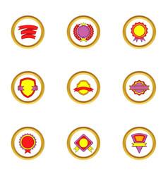 Trendy label icons set cartoon style vector