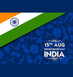 Tricolor banner with indian flag for 15th august vector
