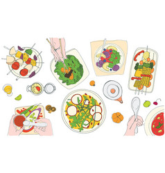 Vegetarian dinner tasty vegan meals lying on vector