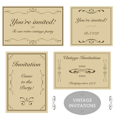 Vintage invitation templates vector