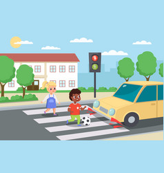 Violation road rules kids abruptly cross path vector