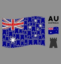 waving australia flag pattern bulwark tower vector image
