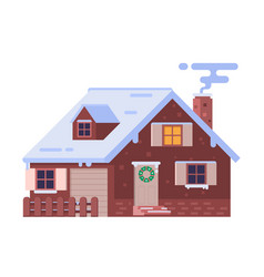 winter chalet house with smoking chimney vector image