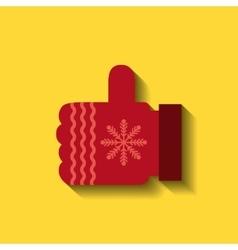 Woolen glove christmas icon vector