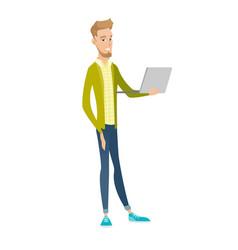 Young caucasian businessman using a laptop vector