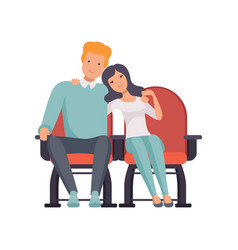 Young couple sitting in cinema theatre and vector