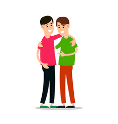 young guys standing and hugging each other group vector image