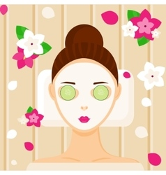 Young woman with facial mask relaxing in spa vector image