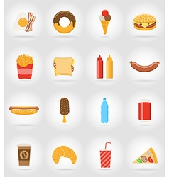 fast food flat icons 17 vector image vector image