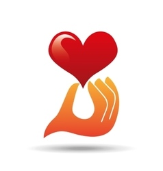 heart love hand holding graphic vector image