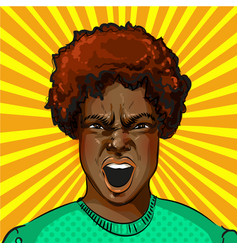 pop art screaming aggressive african vector image vector image
