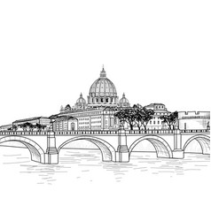rome cityscape with st peters basilica italian vector image vector image