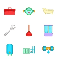 Toilet icons set cartoon style vector image