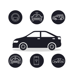 autonomous car set icons vector image