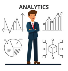 Business analytics young businessman looking at vector