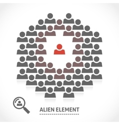 Concept of alien element inside a team vector image vector image