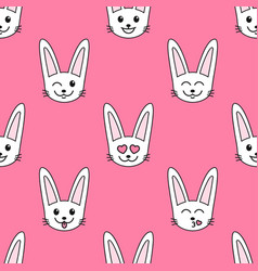 pattern with rabbits with different emotions vector image vector image